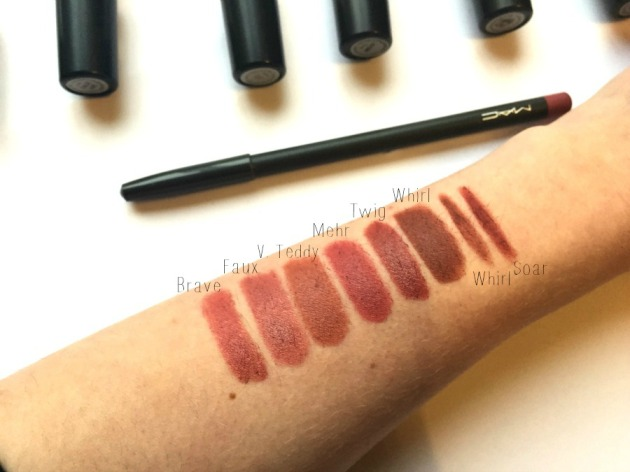 Mac 90s lip Mauve Dusky Brown Lipstick Kylie Jenner Mac Brave Faux Velvet Teddy Mehr Twig Whirl Soar Swatches