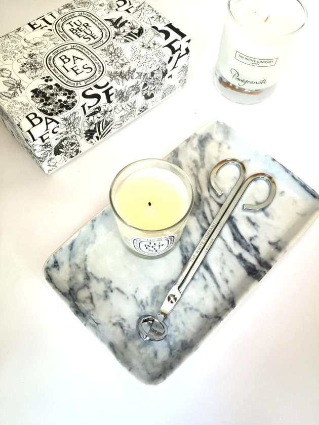 Taking care of candles, best candles Diptyque candles the white company candle marble white