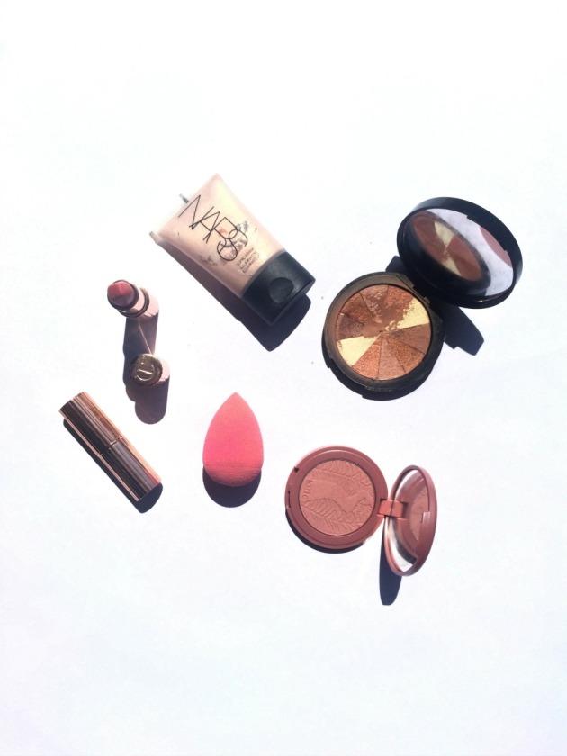 beauty-makeup-favourites-may-favourites-nars-bronze-glowy-skin-highlighter-bronzer-charlotte-tilbury-beauty-blender-tarte-blush-exposed