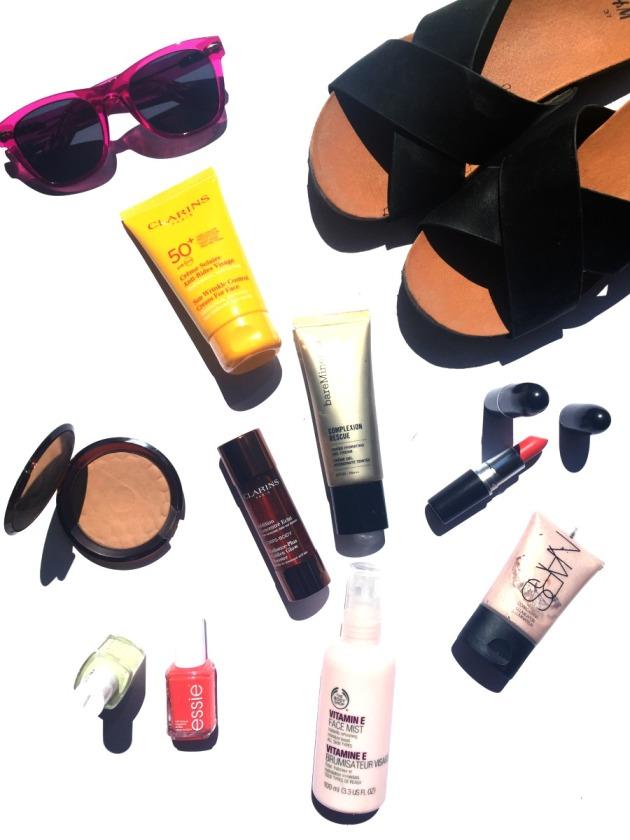 summer-beauty-essentials-makeup-skincare-spf-bronze-tan-glow-bright-lipstick-nails-tinted-moisturiser