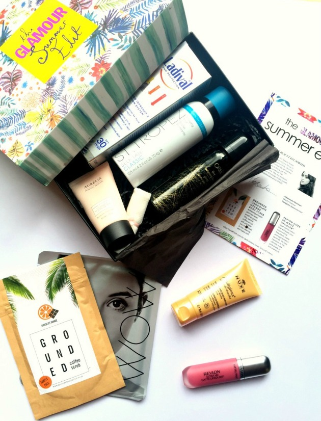 latest-in-beauty-glamour-summer-edit-box-beauty-makeup-oribe-revlon-nuxe-st-tropez-sun-makeup-skincare