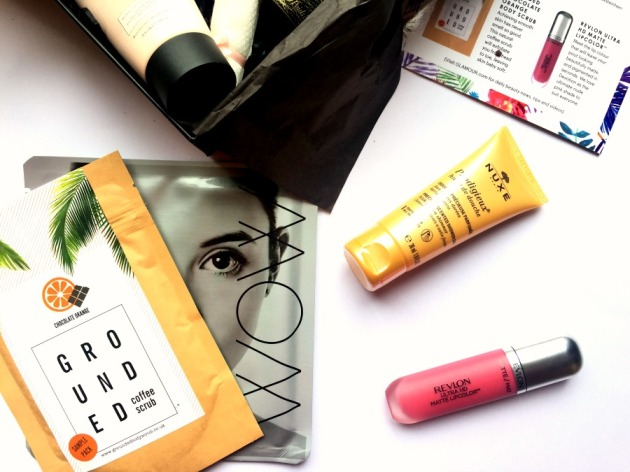 latest-in-beauty-lib-beauty-box-glamour-summer-beauty-makeup-revlon-liquid-lipstick-face-mask-coffee-scrub-skincare