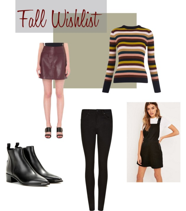 Fall Wishlist Clothing Style Fashion Whistles 2016 Autumn All Saints Urban Outfitters Acne Studios Jenson Boots Sweater Weather Leather Skirt Maroon Burgundy Pinafore Dress Skinny Jeans