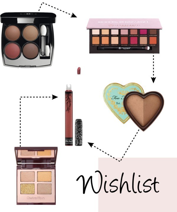beauty wishlist autumn fall 2016 makeup lipstick kat von d uk liquid too faced anastasia chanel charlotte tilbury, modern reniassance, eyeshadow palette, chanel fall 2016 rouge palette