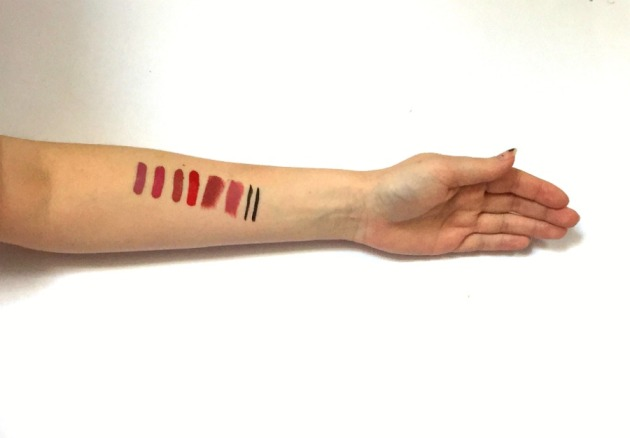 kat-von-d-beauty-swatches-everlasting-liquid-lipstick-lovesick, mother, double dare, outlaw, lolita, magick, studded kiss lipstick, tattoo liner, trooper, ink liner