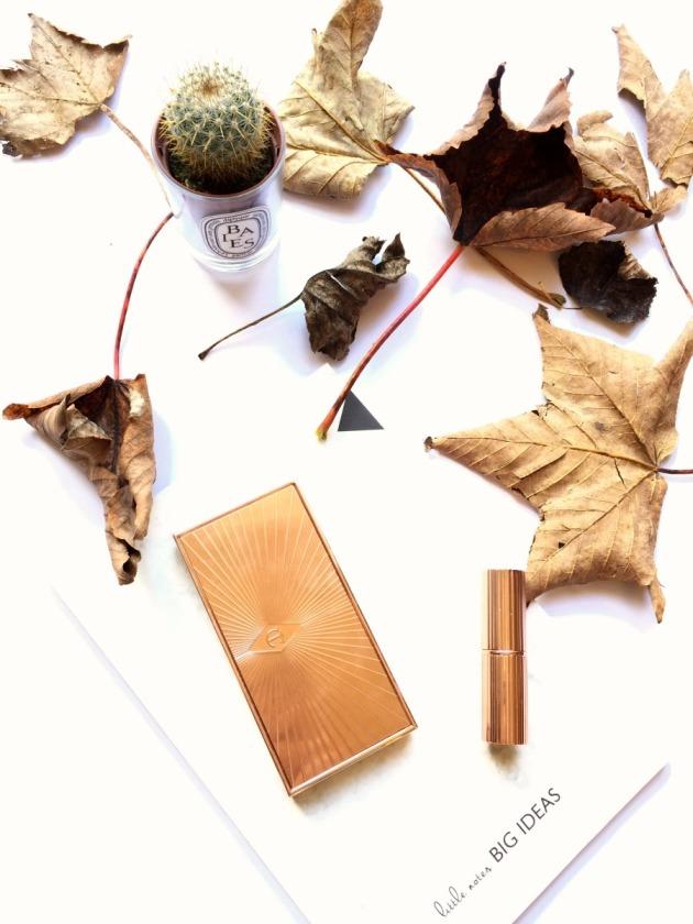 charlotte tilbury, sculpt and glow palette, contour palette, matte revolution lipstick, rose gold, copper, gold, autumn leaves, diptyque, candle