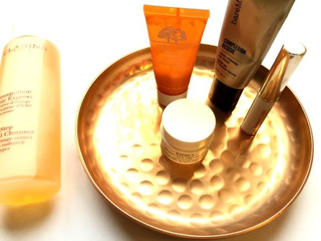 origins ginzing moisturiser, kiehls eye cream, bare minerals complexion rescue, review, clarins, instant light, lip balm