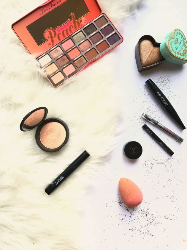 beauty, 2016 best, favourites, products, too faced sweet peach, beauty blender, sweethearts bronzer, becca champagne pop, highlighter, jaclyn hill, mac, kat von d, make up for ever