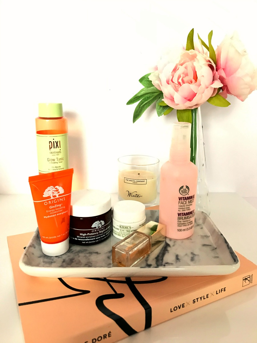 skincare-dry-dehydrated-skin-origins-pixi-glow-tonic-the-body-shop-kiehls, white company, winter, candle