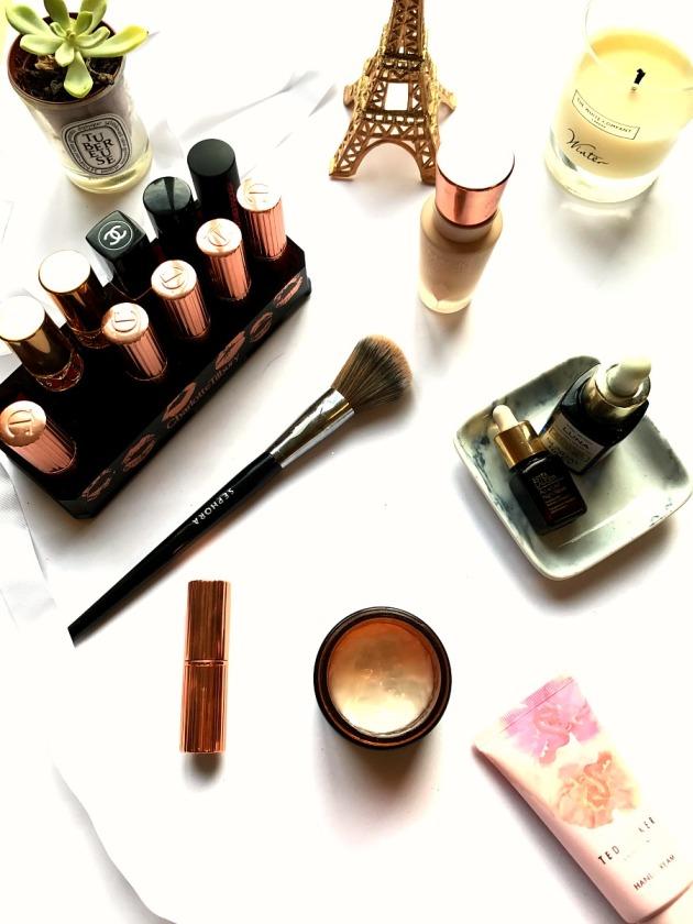 makeup, flatlay, sephora pro brush 55, origins, skincare, charlotte tilbury lipstick, chanel, ysl, sunday riley luna, ted baker, magic foundation, diptyque, white company
